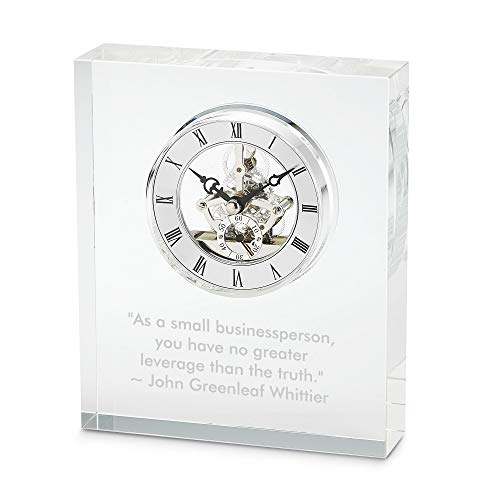 Things Remembered Personalized Glass Skeleton Clock with Engraving Included