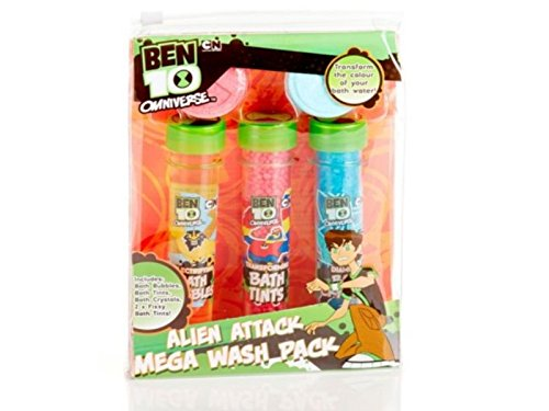 Ben 10 Omniverse Alien Attack Mega Wash Pack - Bubble Bath , Bath Crystals + Fizzing Bath Tints