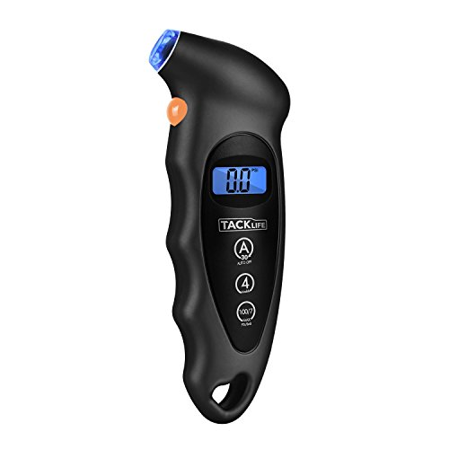 Tacklife TG01 Classic Tire Pressure Gauge 100 PSI 4 Settings Backlight LCD Display and Non-Slip Grip