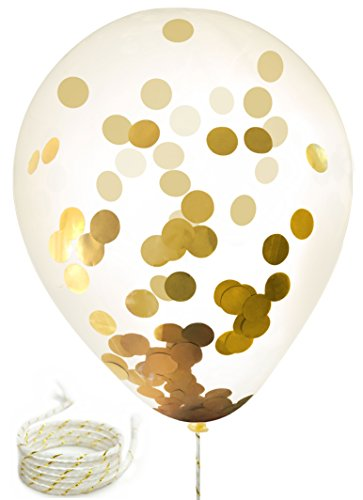 Twerp 15 Gold Confetti Balloons | 12 Inch Party Balloons With Gold Foil (NOT PAPER) Confetti Dots | BONUS! Includes 5 White/Gold Strings | Pre-Filled with Confetti | Perfect Party Decoration