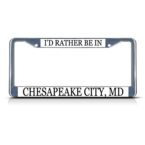 Metal License Plate Frame Solid Insert I'd Rather