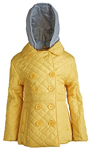 [Urban Republic Girls Padded Quilted Spring Rain Jacket with Detachable Hood - Yellow (Size 5/6)] (Vinyl Cat Hood)
