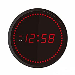 JUNNONG Round Circling Red LED Digital Wall Time Clock