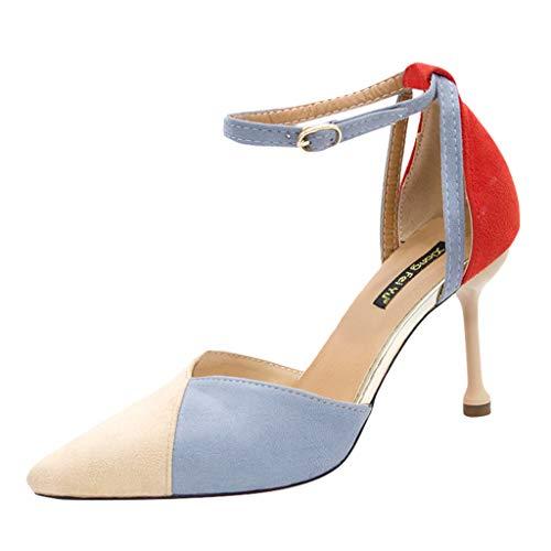 Malbaba Women's Stilettos Pumps, Dress Sandals Pointed Toe High Heel Contrast Color Sandals,Ankle Strap Shoes Khaki