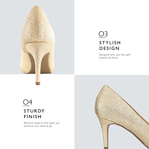 Pointy Close Shoes Gold Low Cushioned high Elegant DailyShoes Stiletto Office Heels Pumps Gl Comfortable Toe Women's q8wCFz