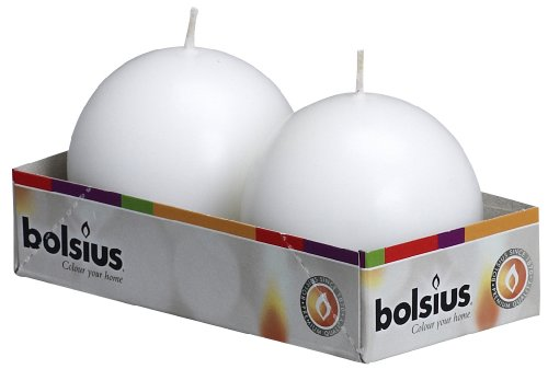 BOLSIUS Pack of 2 White Ball Candles 2.75 Inch (70 mm.) ()