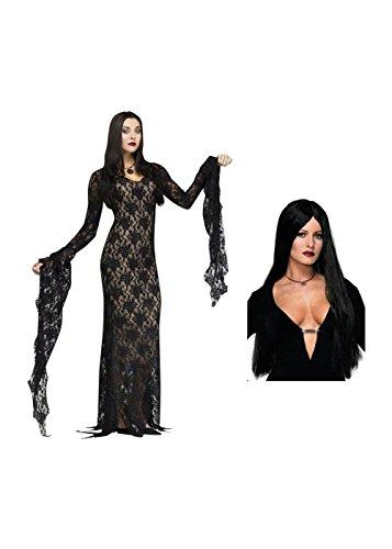 The Adams Family Morticia Adams Woman Costume And Wig Set (Medium (8-10)) (Morticia Adams Costumes)