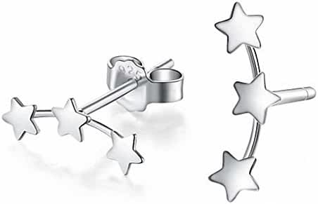 megko Mini Size Silver Triple Linked Stars Ear Studs Stud Earrings for womens