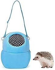 Wontee Pet Carrier Bag Hamster Breathable Outgoing Bag with Shoulder Strap for Hedgehog Sugar Glider Chinchilla Guinea Pig Squirrel (Blue)