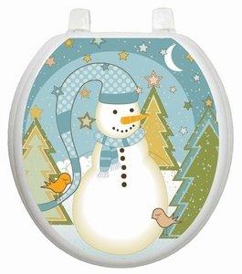 best Folk Snowman Toilet Tattoo TT-X623-R Round Winter Snow Holiday