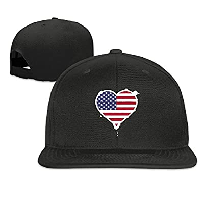 USA Heart Flag Plain Adjustable Snapback Hats Men's Women's Baseball Caps
