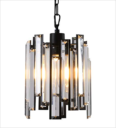 Modern Swag Kitchen Island Lighting 1 Light Antique Black Round Metal Shade and Hanging Crystals Surrounded Mini Pendant Light for Dining Room Bar Bedroom Living Room,Adjustable 4ft Chain