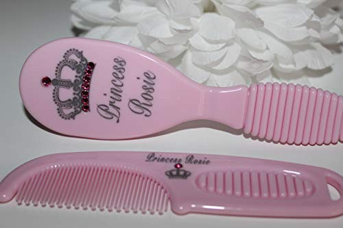 Personalised Royal Crown Design Baby Brush and Comb Set (Pink) Made with Swarovski Gems. Engraved with Any Name Precious Gift Company