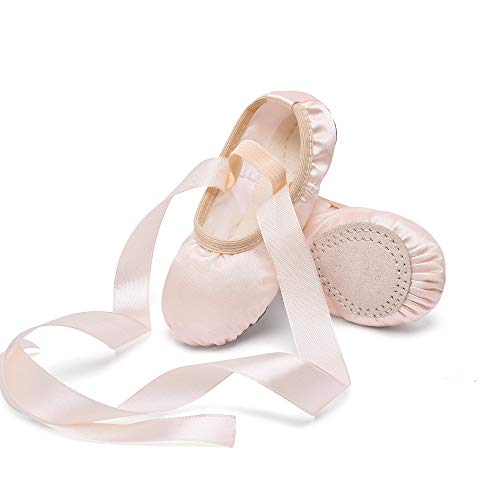 STELLE Girls Ballet Dance Shoes Satin Slippers Gymnastics Flats Split Sole with Ribbon (BP, 11ML)