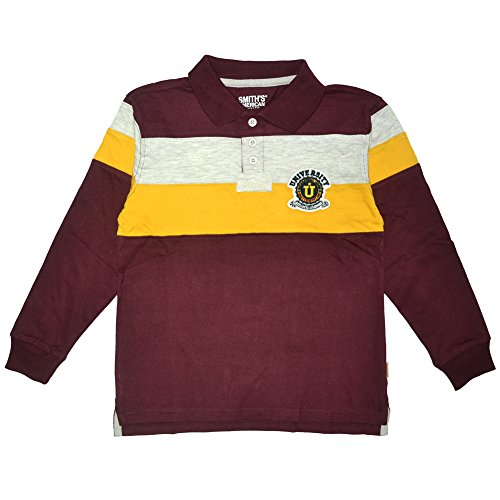 Pieced Rugby Shirt (Smiths American Little Boys Pieced Rugby Polo (4, Burgundy))