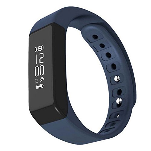 Ginsy Wireless Fitness Tracker with Sleep Monitor Activity Watch Sports Pedometer Wristband for Men Kids Women (Blue)