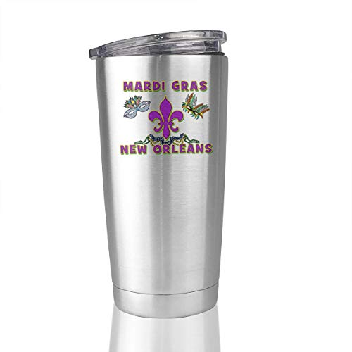 Mardi Gras New Orleans 20 Oz Stainless Steel Tumbler Vacuum Insulated Coffee Mug Simple Modern -