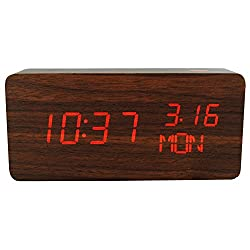 Wooden Digital Alarm Clock, KABB 6 Wood Grain Design Multi-function LED Digital Clock with Time Date Temperature Display Snooze and Sound Control Functions for Office & Home Decoration