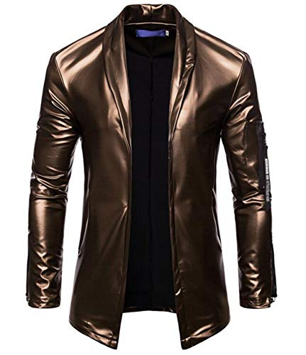 - UUYUK Men Long Sleeve Patent Leather Stand Collar Front Zipper Jacket Coat Golden US M