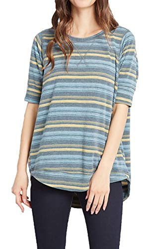 (OURS Women Summer Short Sleeve Stitched Detail Blouses Casual Shirts Tops (L, Gray Stripe))