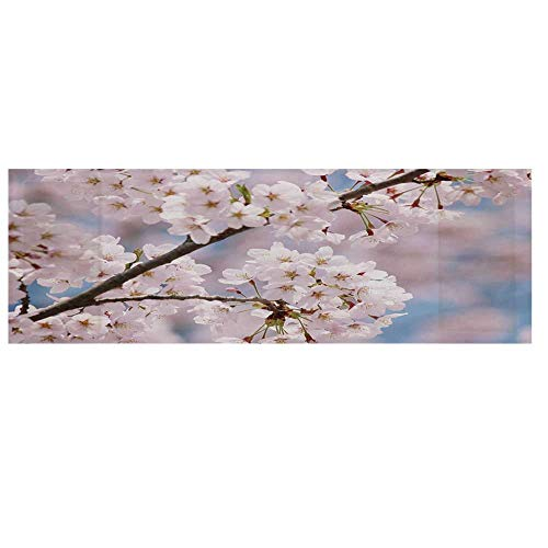 """(Spring Decor Microwave Oven Cover,Floral Tree Branches Cherry Blossom Petals Buds Flourishing Nature Landscape Cover for Kitchen,36""""L x 12""""W)"""