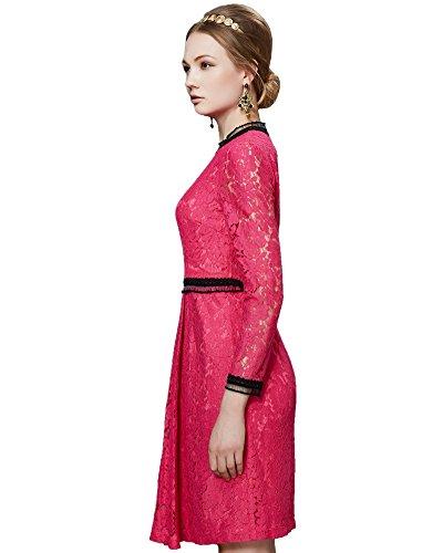... ASCHOEN Damen Spitzenkleid Abendkleid Vintage Off Schulter Knielang  A-Linie Cocktailkleid Retro Spitzen Langarm Kleid 6cf0b1c0aa