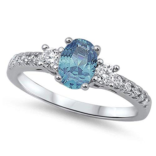 CloseoutWarehouse Oval Center Simulated Aquamarine Cubic Zirconia Ring Sterling Silver Size 4