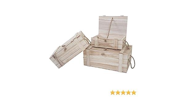 3 x Box madera dornbirn S + M + L, Caise en madera, baúl de tesoro, caja de almacenaje: Amazon.es: Hogar