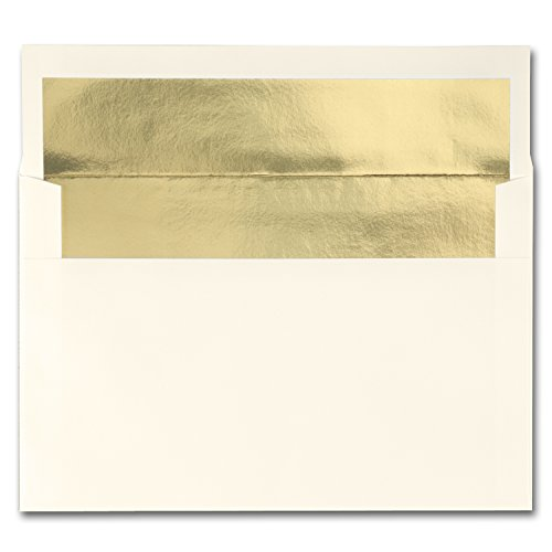 Gold Lined Ecru Envelope - Fine Impressions Gold Lined Ecru A9 Envelopes, 5.75