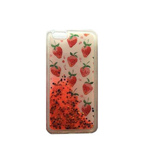FUN CASE Erdbeere für Iphone 4 / 4G / 4S Handy Cover Hülle Case Glitzer Sterne Flüssig Sternenstaub