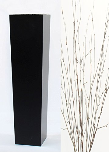 GreenFloralCrafts Natural Beech Branches in Large Tapered  Black Floor Vase - 30 in.H x 7 in. Opening