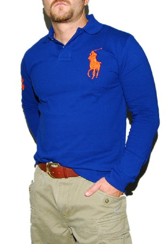 Polo Ralph Lauren Mens Big Pony Custom Fit Long Sleeve Shirt Blue Orange Small at Amazon Men\u0026#39;s Clothing store: