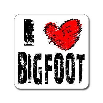 "Crawford Graphix I Love Heart Bigfoot - Window Bumper Laptop Sticker (5"", 2 Pack)"