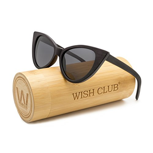 e1ebc5aabaf WISH CLUB Cat Eye Bamboo Polarized Sunglasses Wood for Women Girls Handmade  Mirrored Lenses Vintage Wooden UV400 Eyewear Fashion Light Cute Sun Glasses  with ...