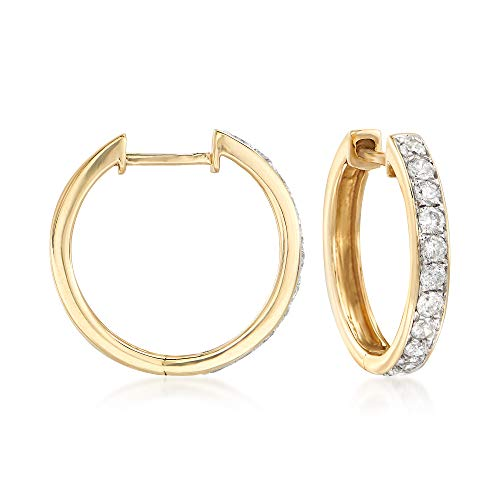 Ross-Simons 0.50 ct. t.w. Diamond Hoop Earrings in 14kt Yellow Gold ()