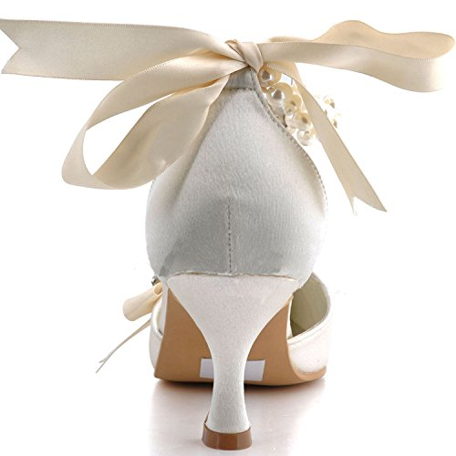Toe MZ560 5cm Heel Minitoo Heel Kitten Bridal Beaded 6 Pointy Ivory Satin Pumps Womens Backstrap OwqO5at