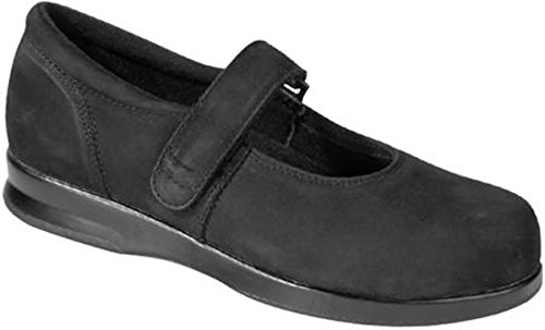 Drew Women's Drew Orthopedic Mary Jane Leather Shoe (5 W, Black Nubuck) (Drew Leather Mary Janes)