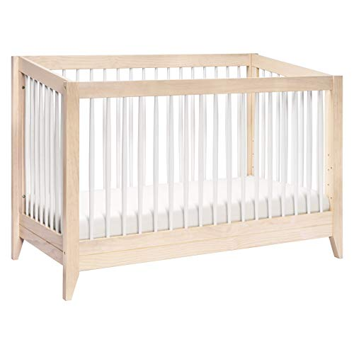 Babyletto Sprout 4-in-1 Convertible Crib with Toddler Bed Conversion Kit, Washed Natural / White