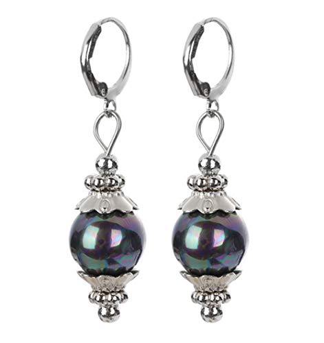 Greendou Fashion Jewelry 12mm Tahitian Black Peacock Sea Shell Pearl Sterling Silver Leverback Earrings