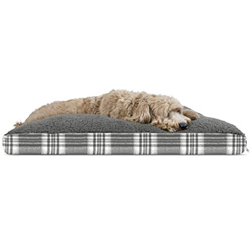 FurHaven Pet Dog Bed | Deluxe Terry and Plaid Pillow Pet Bed for Dogs & Cats, Smoke Gray, Large