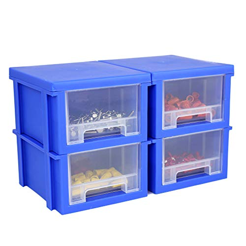 Bins & Things Modular Stackable and Expandable Hardware Organizer Bins with Drawers - Set of 4 Bins