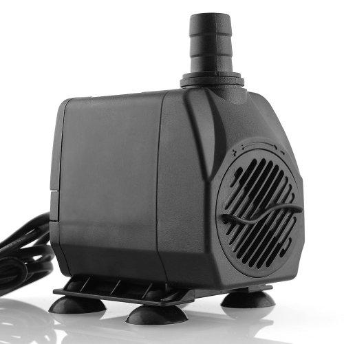 amzdeal® Tauchpumpe Aquariumpumpe 60Watt 3000L/H max. H 3m für Süß- und Meerwasser schwarz