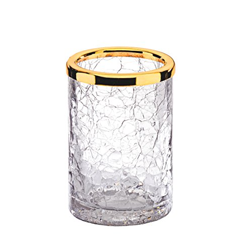 Crackle Collection Table Toothbrush & Toothpaste Holder, Polished Chrome/ 24k Gold w/ Crackled Glass Cup, Made in Spain (European Brand) (Polished Gold) by Hispania bath