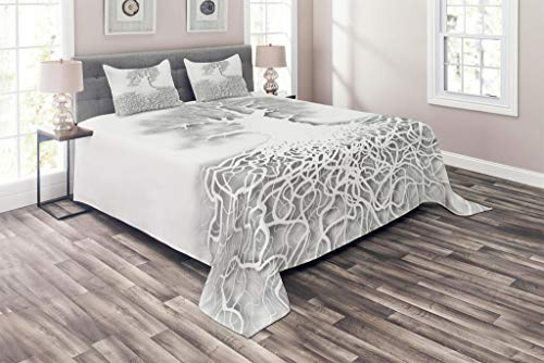 Lunarable Tree of Life Coverlet Set King Size, Cutout Art Leafless Oak Tree Mature Root System Underneath Underground, 3 Piece Decorative Quilted Bedspread Set with 2 Pillow Shams, Pale Grey White