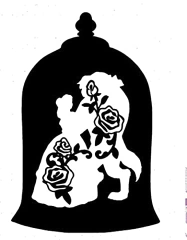 Disney Beauty And Beast Enchanted Rose, Black, 6 Inch, Die Cut Vinyl Decal, For Windows, Cars, Trucks, Toolbox, Laptops, Macbook-virtually Any Hard Smooth (Beauty Beast Decal)