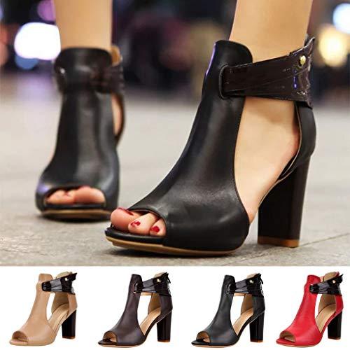 Été Zipper Sandales Bottes Escarpins Femmes Ajourée Poisson Simples Femme Manadlian Café Chaussures Haut Talon Chaussons f5Bqw