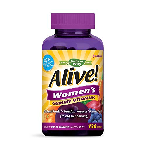 Nature's Way Alive!® Women's Gummy Multivitamin, Fruit and Veggie Blend (75mg per serving), Full B Vitamin Complex, Gluten Free, Made with Pectin, 130 Gummies