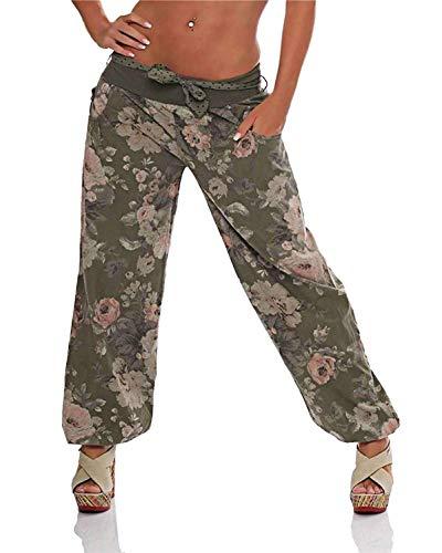 Donne Harem Bloomers Pallone Pantaloni di Yoga Aladdin Harem Pantaloni Estivi con Fiore Della Stampa Cintura in Tessuto Army Green