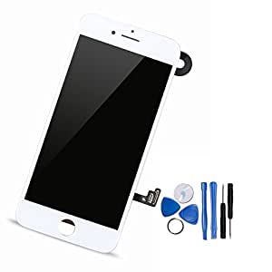 Yodoit For iPhone 7 LCD Display and Digitizer Assembly Glass Touch Screen Replacement with Frame Spare Parts (Front Camera, Sensor Flex, Shield plate, Earpiece Speaker) + Tool (4.7 inches White) …