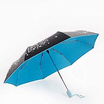DSFOPI Flor Paraguas Recubrimiento Negro Protector Solar Paraguas Soleado Mujer Lluvia Paraguas Mujer Princesa Parasol Automático